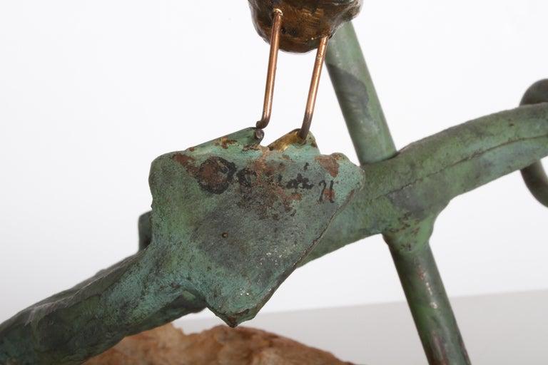 Curtis Jere Anchor Sculpture Faux Bronze on Stone Quartz Base, Signed For Sale 2