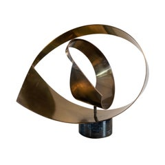 Curtis Jere Artisan House Abstract Marble and Brass Sculpture, 1984
