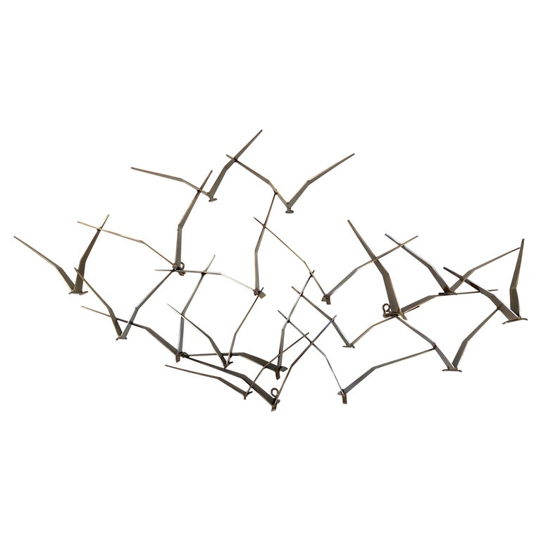"""Curtis Jeré """"Birds in Flight"""" Large Brass Wall Sculpture, Signed, 1994 For Sale"""