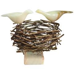 Curtis Jere Brass and Onyx Birds Nest Sculpture