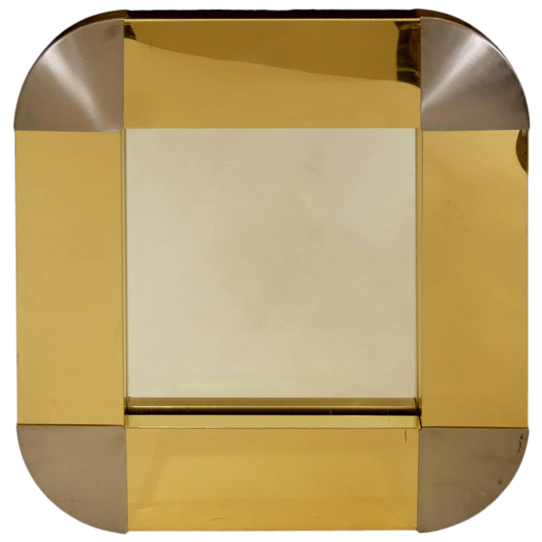 Curtis Jere Brass and Steel Mirror