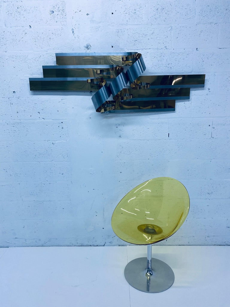 Curtis Jere Brass and Steel Ribbon Wall Sculpture, 1989 For Sale 5