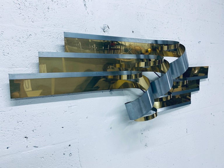 Modern Curtis Jere Brass and Steel Ribbon Wall Sculpture, 1989 For Sale