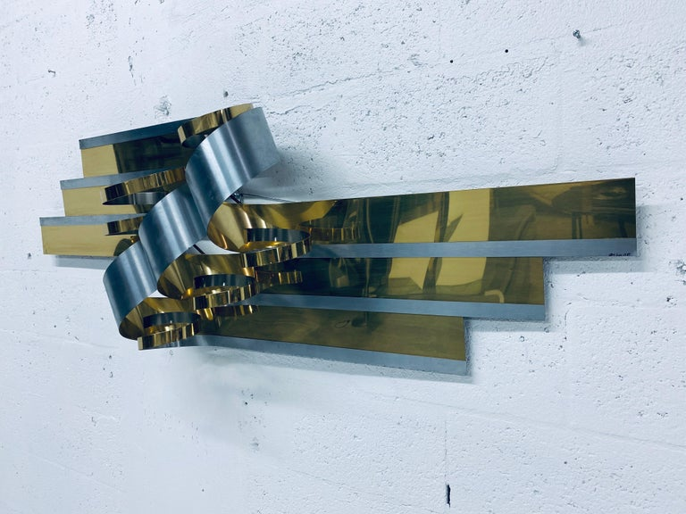 American Curtis Jere Brass and Steel Ribbon Wall Sculpture, 1989 For Sale