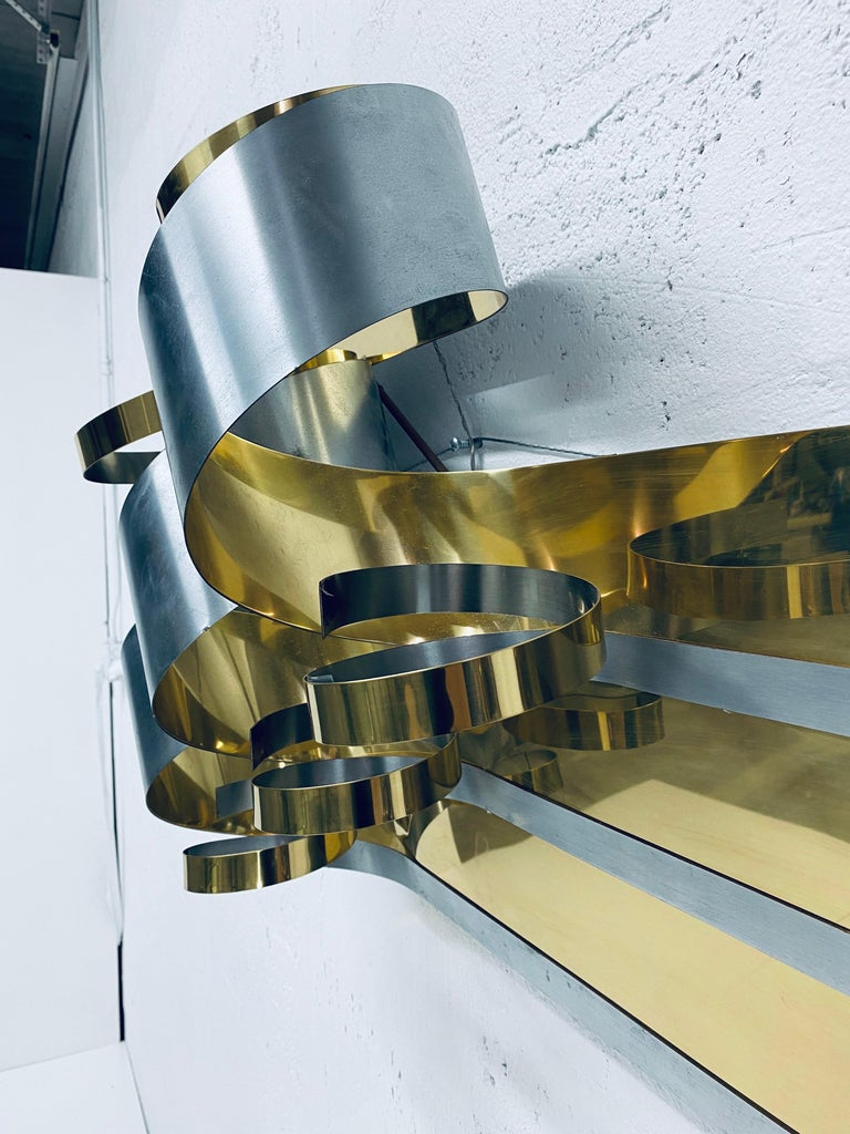 Curtis Jere Brass and Steel Ribbon Wall Sculpture, 1989 In Good Condition For Sale In Miami, FL