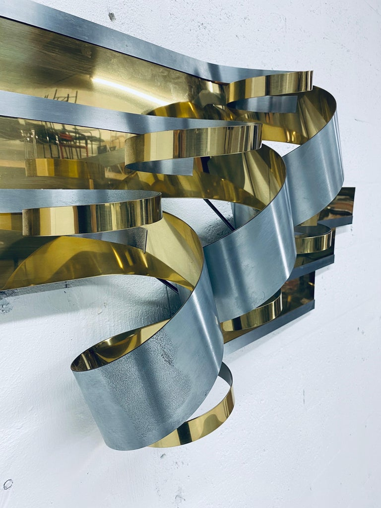 Late 20th Century Curtis Jere Brass and Steel Ribbon Wall Sculpture, 1989 For Sale