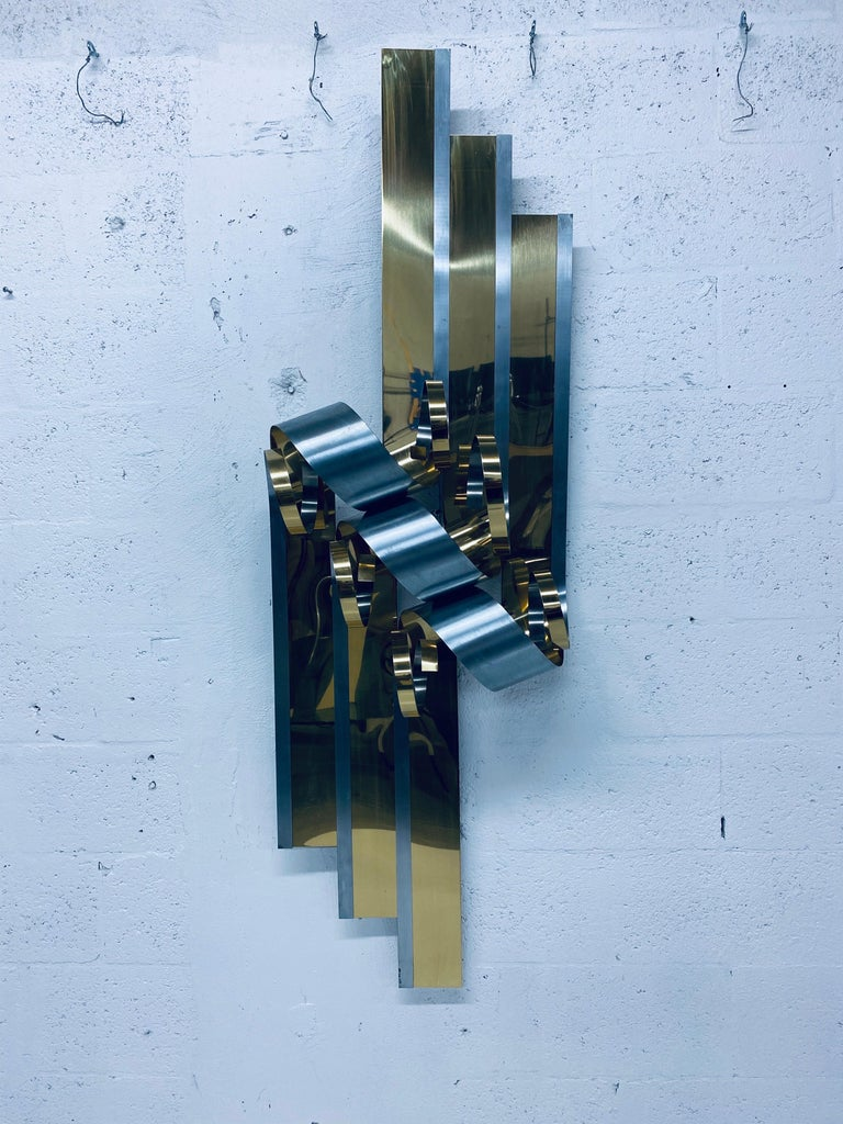 Curtis Jere Brass and Steel Ribbon Wall Sculpture, 1989 For Sale 1