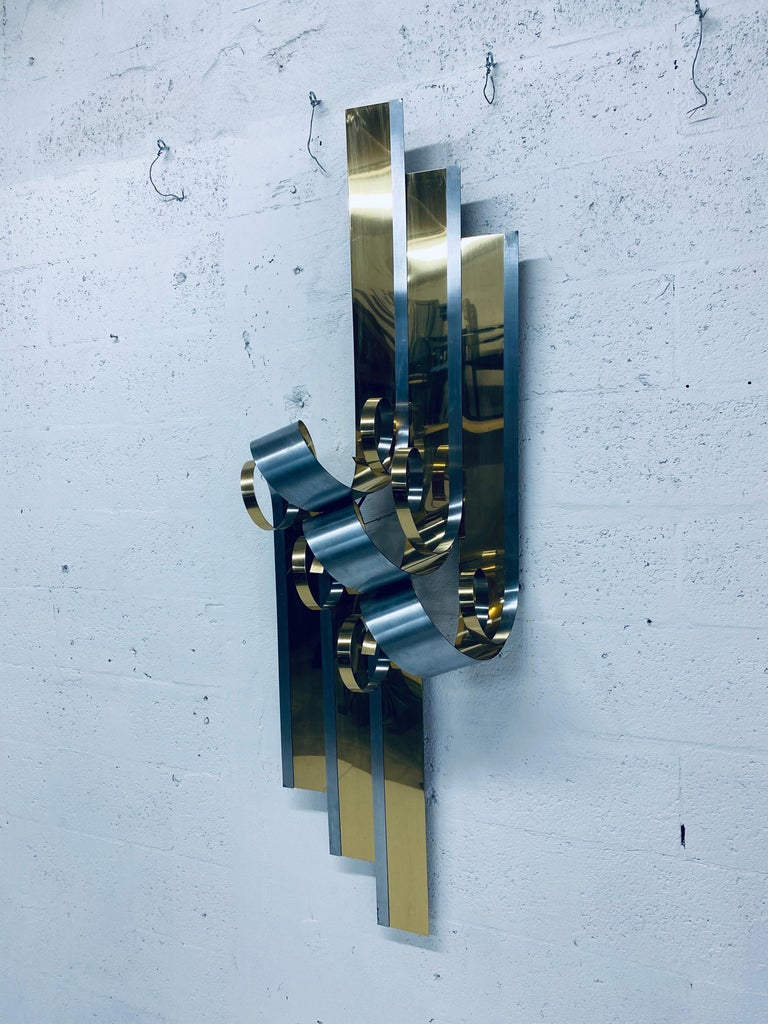 Curtis Jere Brass and Steel Ribbon Wall Sculpture, 1989 For Sale 2