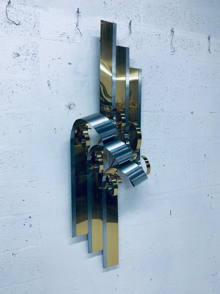 Curtis Jere Brass and Steel Ribbon Wall Sculpture, 1989 For Sale 3