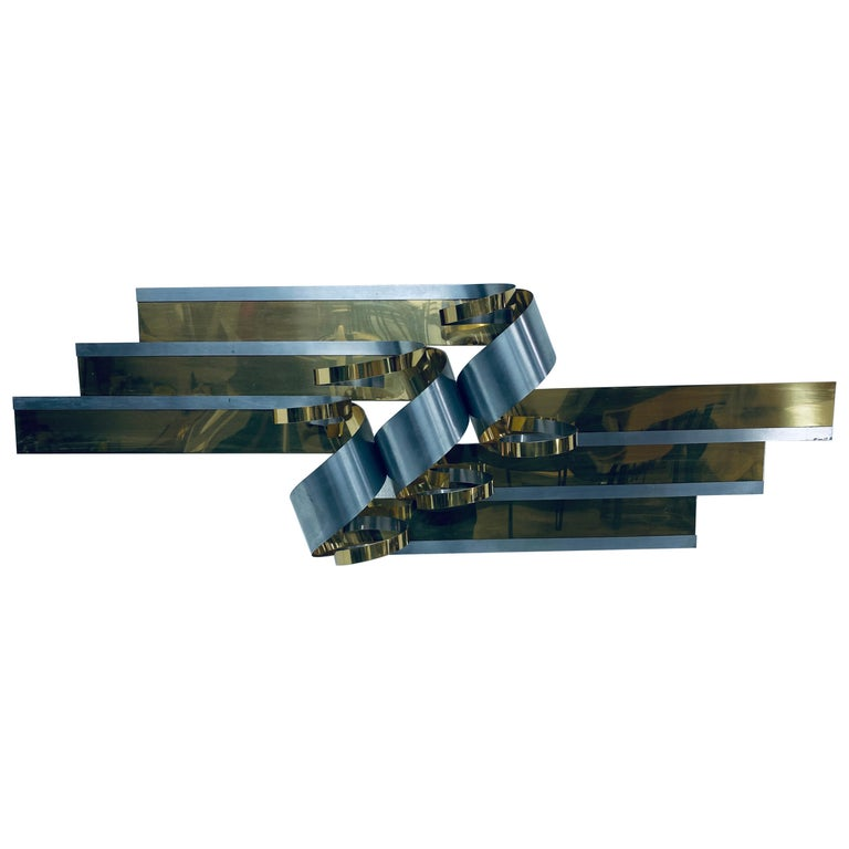 Curtis Jere Brass and Steel Ribbon Wall Sculpture, 1989 For Sale