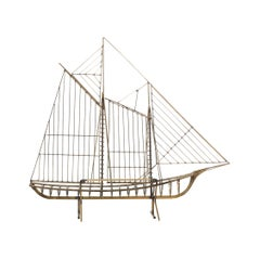 Curtis Jere Brass Boat Sculpture