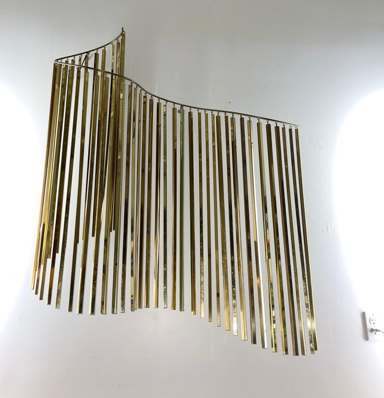 Curtis Jere Brass Kinetic Wave Wall Sculpture, Signed, 1983 For Sale 6