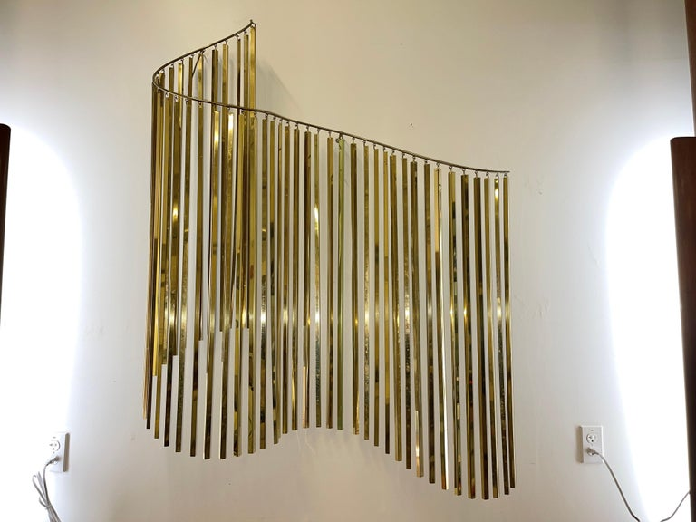 Curtis Jere Brass Kinetic Wave Wall Sculpture, Signed, 1983 For Sale 8