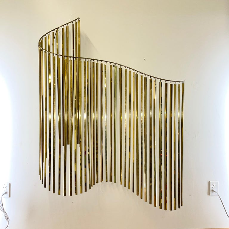 Curtis Jere Brass Kinetic Wave Wall Sculpture, Signed, 1983 For Sale 10