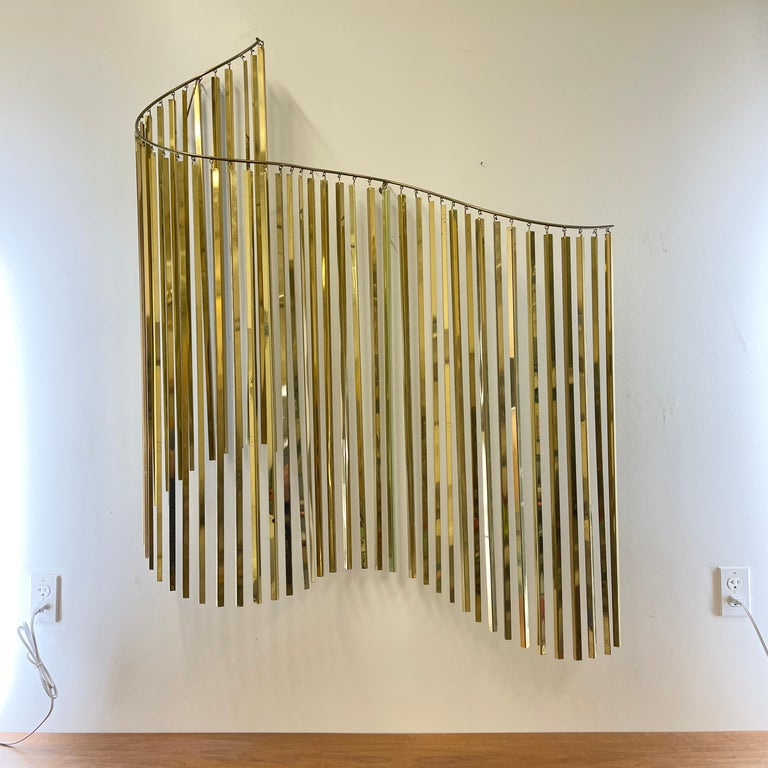 Curtis Jere Brass Kinetic Wave Wall Sculpture, Signed, 1983 For Sale 12