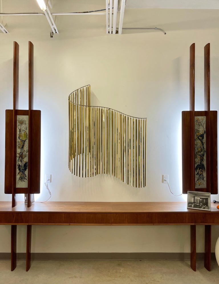 Mid-Century Modern Curtis Jere Brass Kinetic Wave Wall Sculpture, Signed, 1983 For Sale