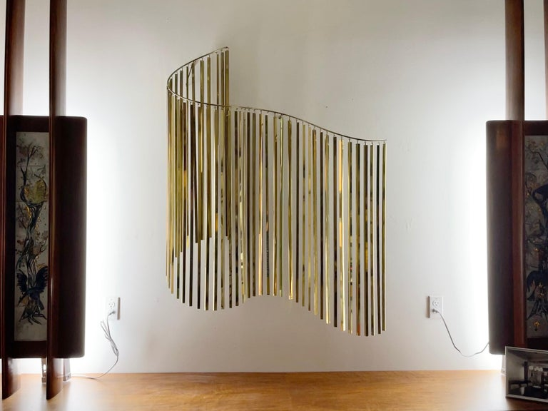 American Curtis Jere Brass Kinetic Wave Wall Sculpture, Signed, 1983 For Sale
