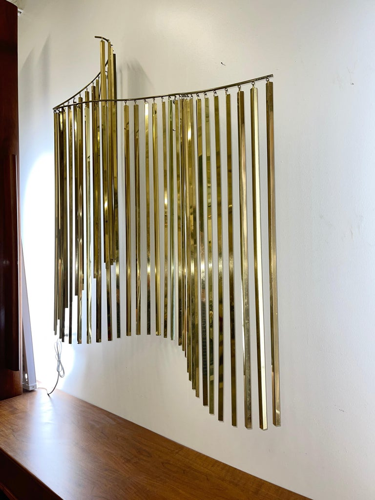 Curtis Jere Brass Kinetic Wave Wall Sculpture, Signed, 1983 In Good Condition For Sale In Hingham, MA
