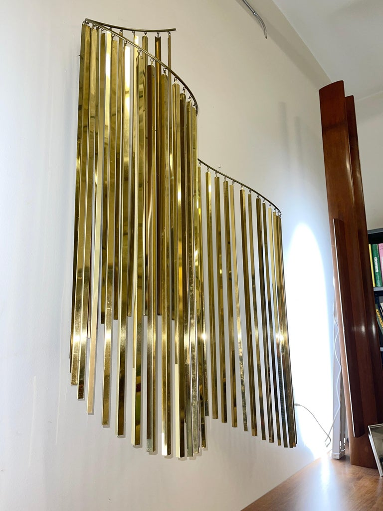 Late 20th Century Curtis Jere Brass Kinetic Wave Wall Sculpture, Signed, 1983 For Sale