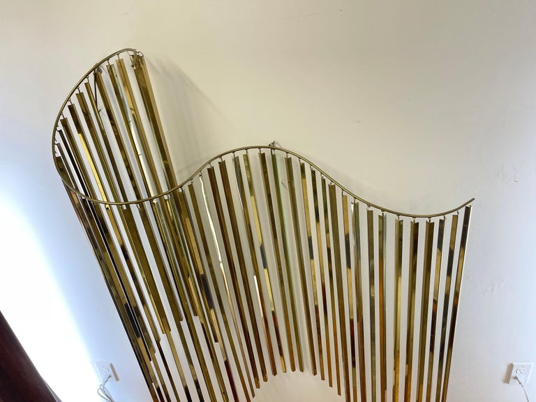Curtis Jere Brass Kinetic Wave Wall Sculpture, Signed, 1983 For Sale 1