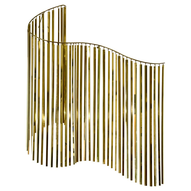 Curtis Jere Brass Kinetic Wave Wall Sculpture, Signed, 1983 For Sale