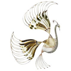 Curtis Jere Brass Peacock Bird of Paradise Wall Art Sculpture, 1980s