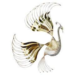 Curtis Jere Brass Peacock Bird of Paradise Wall Art Sculpture, 1980s