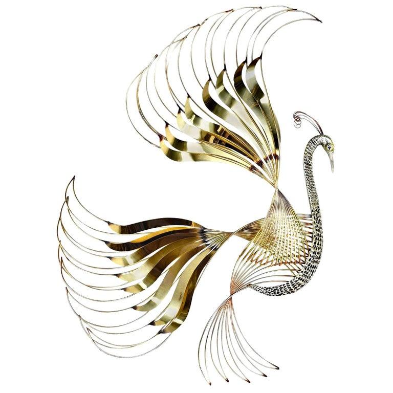 Curtis Jere Brass Peacock Bird of Paradise Wall Art Sculpture, 1980s For Sale