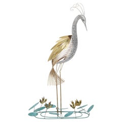 Curtis Jere Brass Wall Mounted 'Heron' Sculpture