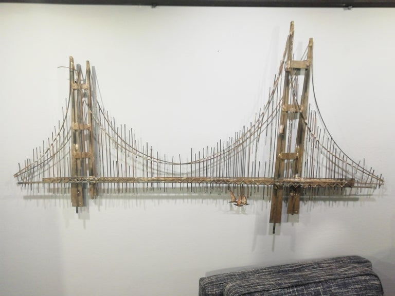 American Curtis Jere Brutalist Golden Gate Wall Sculpture For Sale