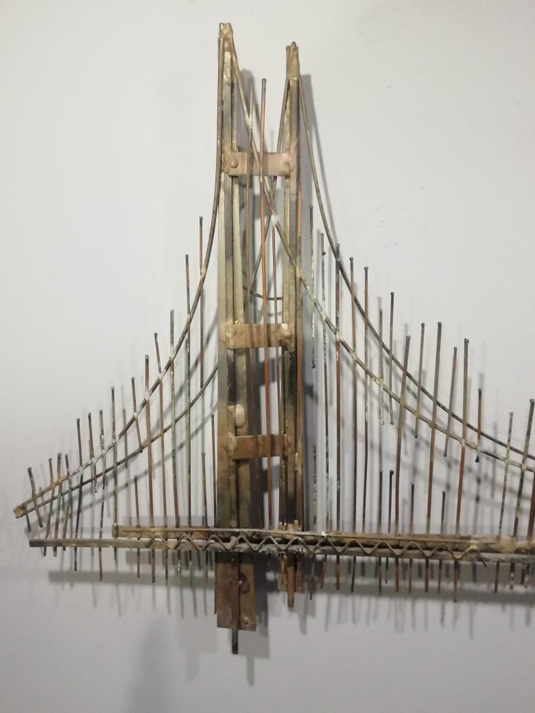 Gilt Curtis Jere Brutalist Golden Gate Wall Sculpture For Sale