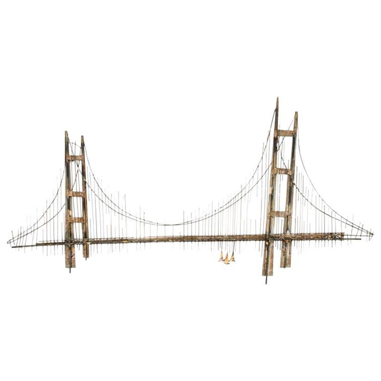 Curtis Jere Brutalist Golden Gate Wall Sculpture For Sale