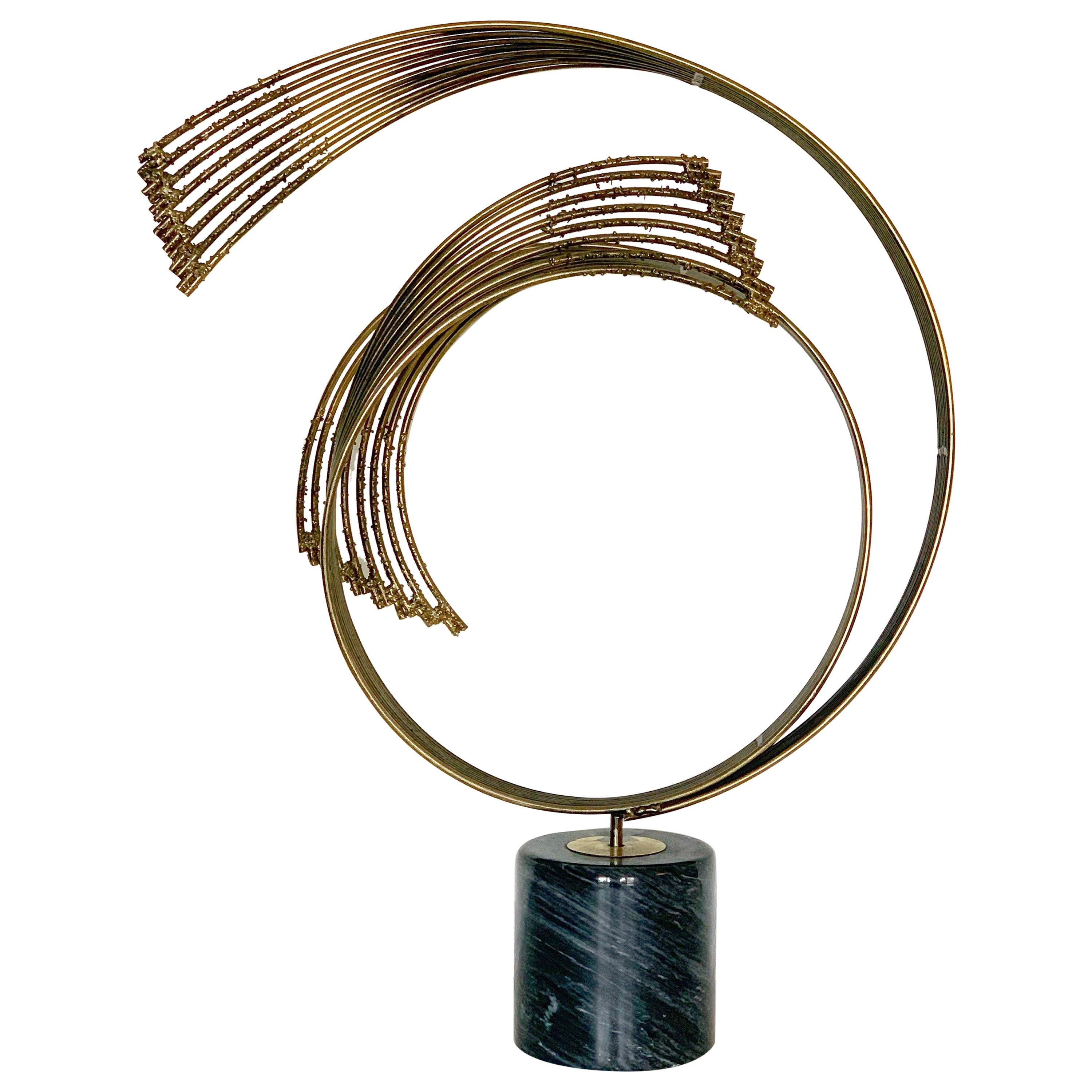 Curtis Jere Brutalist Modern Spiral Sculpture in Iron and Marble