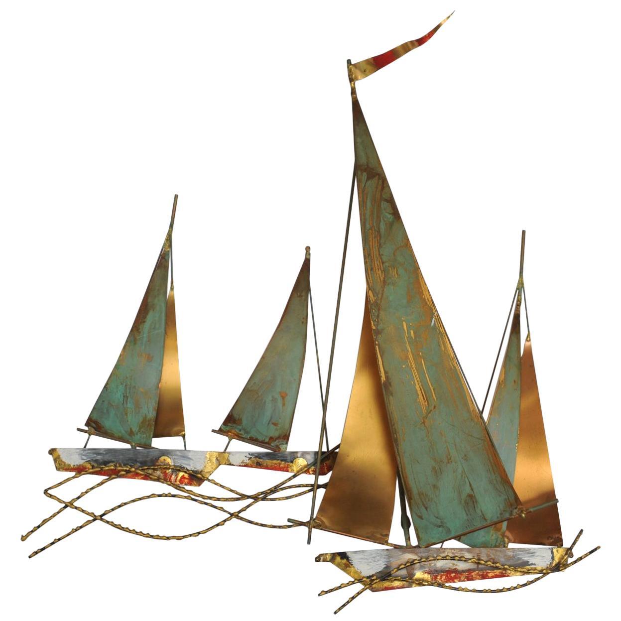 Curtis Jeré Brutalist Period Nautical Sailboat Wall Sculpture, 1969