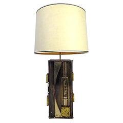 Curtis Jere Brutalist Table Lamp, Signed