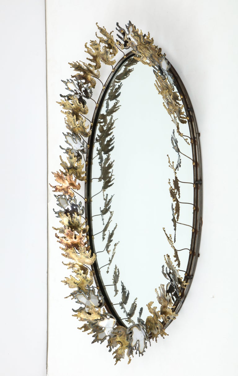 Late 20th Century Curtis Jere Brutalist Wall Mirror For Sale