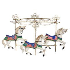 Curtis Jere Carousel Horses Metal Wall Sculpture, Signed & Dated, 1987