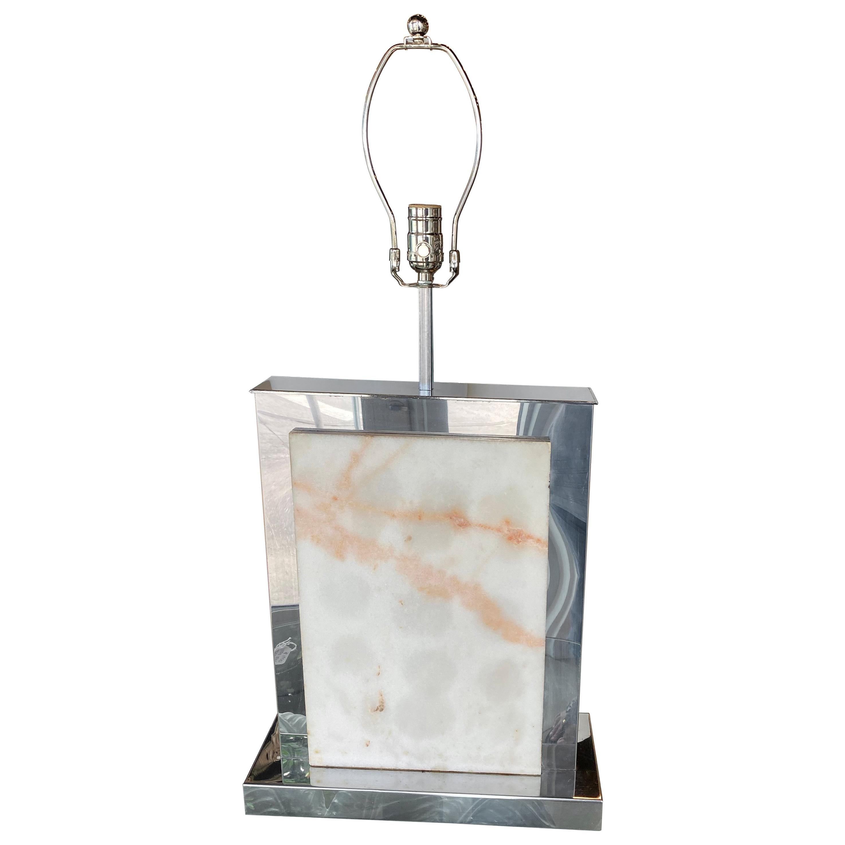 Curtis Jere Chrome and Marble Table Lamp Vintage Mid-Century Modern Restored