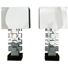 Curtis Jere Chrome Geometric Skyscraper Lamps, Pair