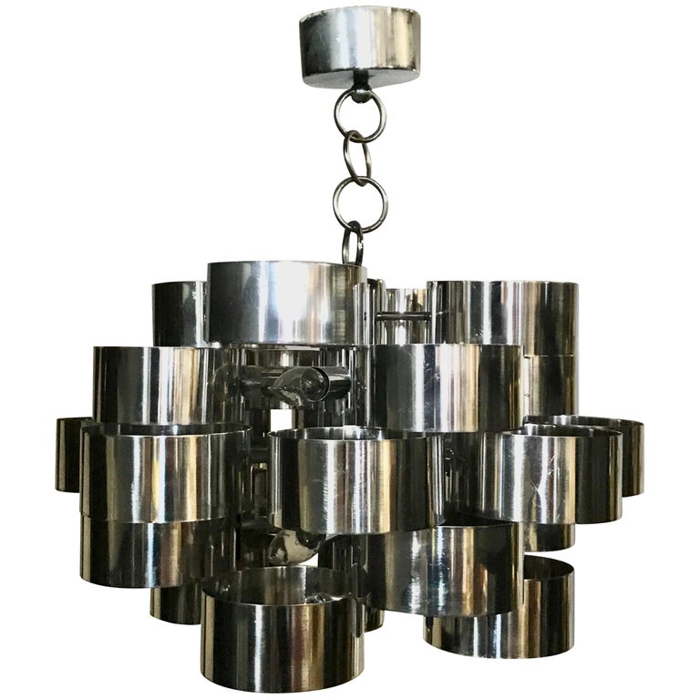"Curtis Jere ""Cloud"" Form Chrome Chandelier / Pendant For Sale"