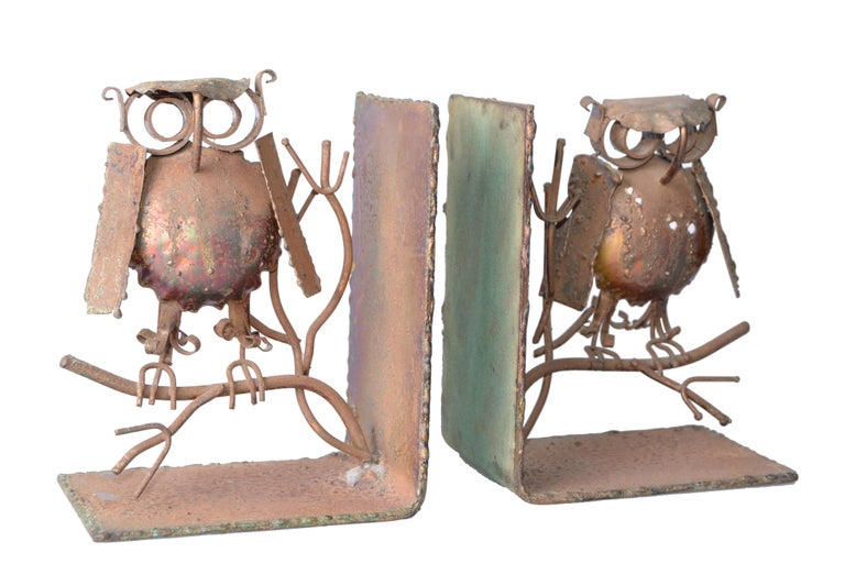Original Curtis Jere copper owl bookends. No signature.