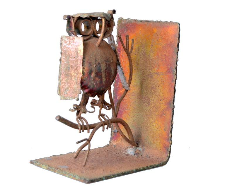Curtis Jere Copper Owl Bookends, a Pair In Good Condition For Sale In North Miami, FL
