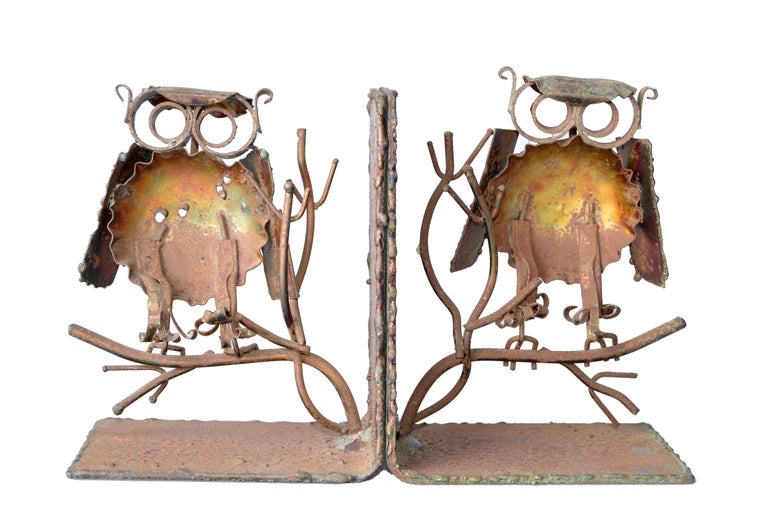 20th Century Curtis Jere Copper Owl Bookends, a Pair For Sale