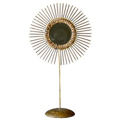Curtis Jere Double-Sided Brass Sunburst Mirror, 1968