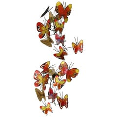 Curtis Jere Enameled Butterfly Wall Sculptures, 1970s