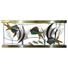 Curtis Jere Fish Aquarium Made of Brass and Painted Metal from 1993