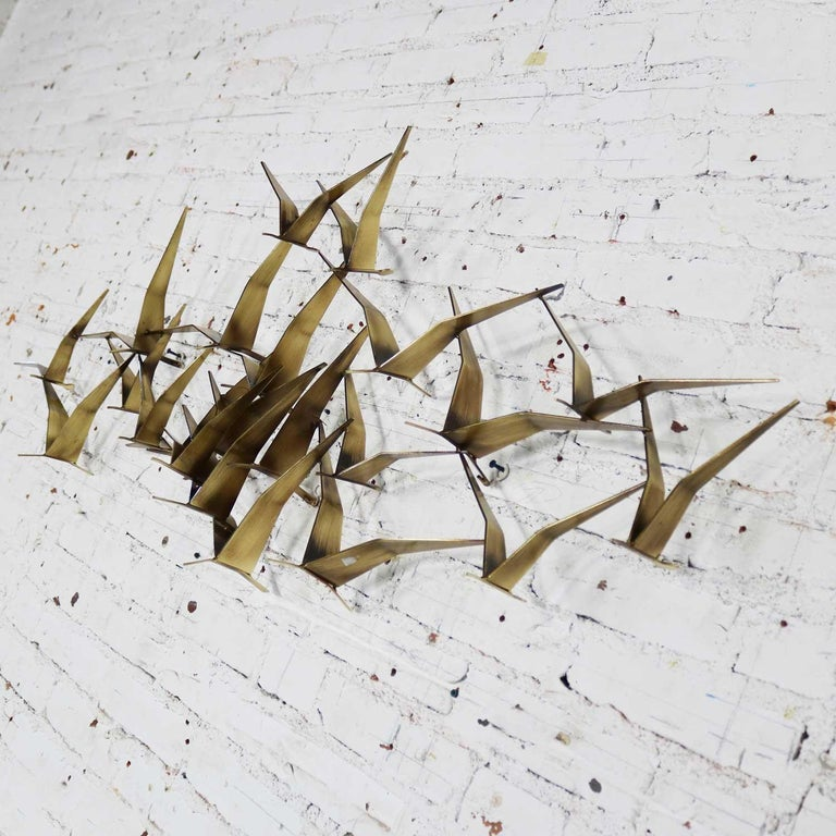 Brutalist Curtis Jere Flock of Flying Birds Metal Wall Hanging Sculpture Signed Dated 1989 For Sale