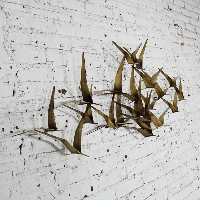 20th Century Curtis Jere Flock of Flying Birds Metal Wall Hanging Sculpture Signed Dated 1989 For Sale