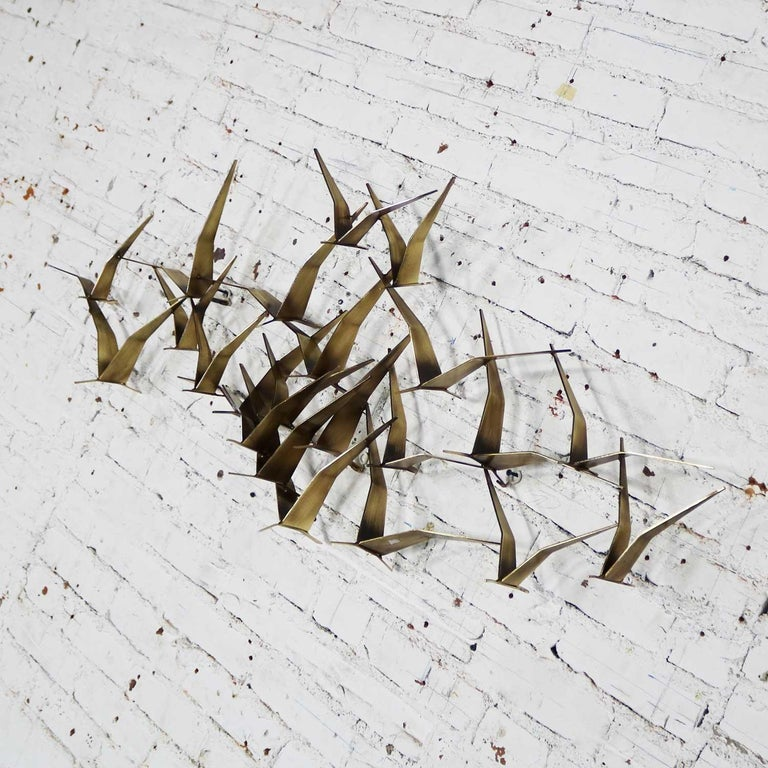 Curtis Jere Flock of Flying Birds Metal Wall Hanging Sculpture Signed Dated 1989 For Sale 2