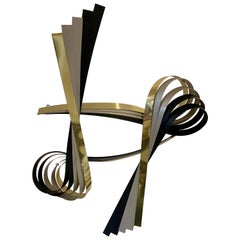Curtis Jere Hanging Brass and Chrome Large Ribbon Wall Sculpture